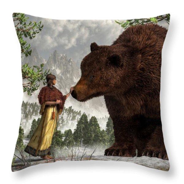 The Bear Woman Throw Pillow by Daniel Eskridge