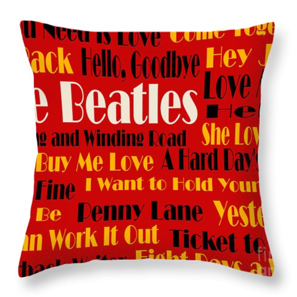 The Beatles 20 Classic Rock Songs 2 Throw Pillow by Andee Design