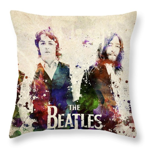 The Beatles Throw Pillow by Aged Pixel
