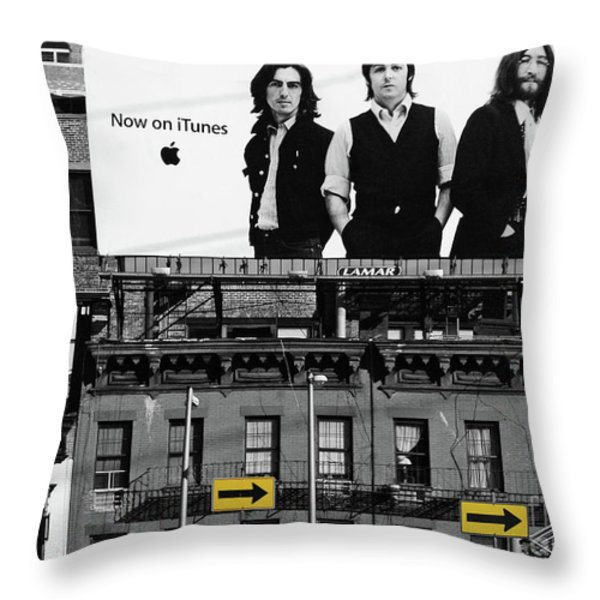 The Beatles And Apple In New York City Throw Pillow by Anahi DeCanio Photography