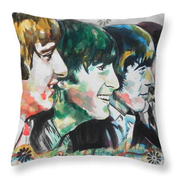 The Beatles 01 Throw Pillow by Chrisann Ellis