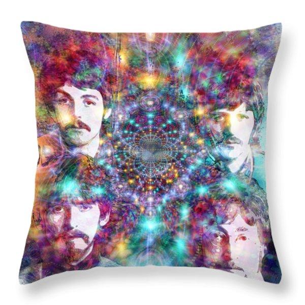 The Beatles Throw Pillow by D Walton