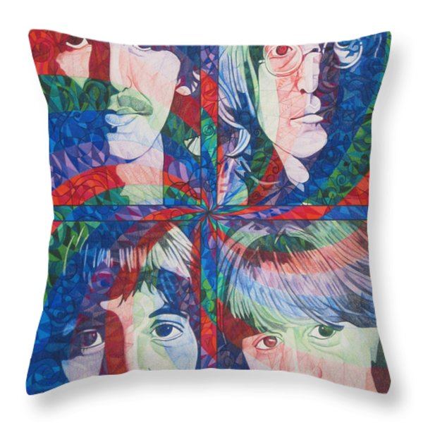 The Beatles Squared Throw Pillow by Joshua Morton