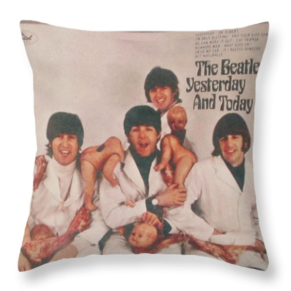 The Beatles Yesterday and Today Butcher Album Cover Throw Pillow by Donna Wilson