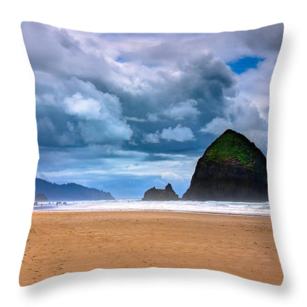 The Beautiful Cannon Beach Throw Pillow by David Patterson