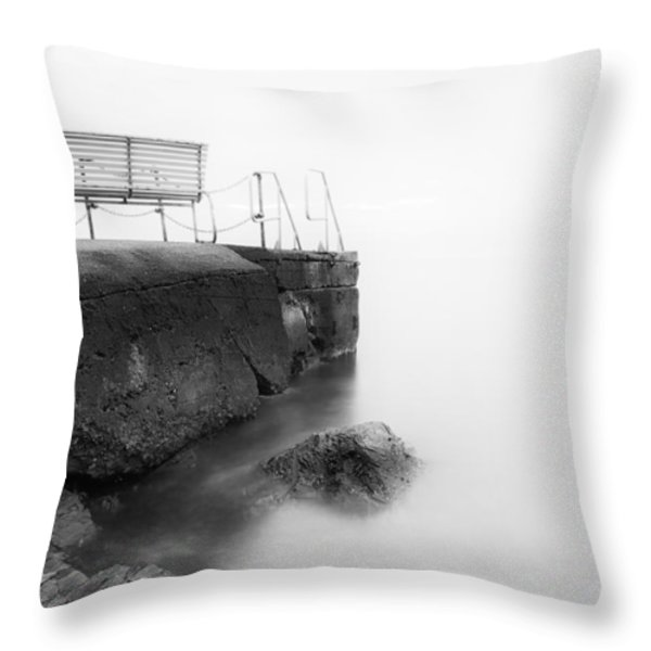 The Bench And The Fog Throw Pillow by Erik Brede
