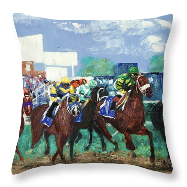 The Bets Are On Again Throw Pillow by Anthony Falbo