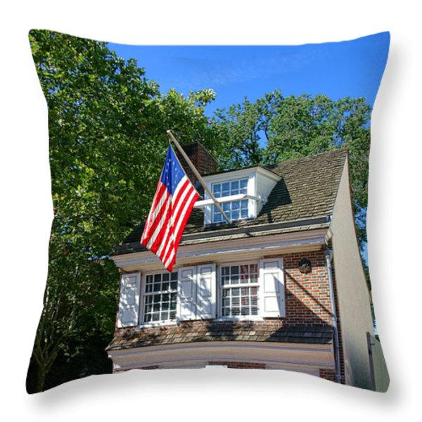 The Betsy Ross House Throw Pillow by Olivier Le Queinec