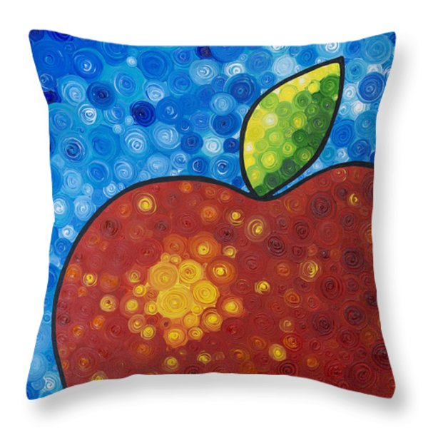 The Big Apple - Red Apple By Sharon Cummings Throw Pillow by Sharon Cummings