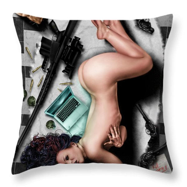 The Big Hit Throw Pillow by Pete Tapang