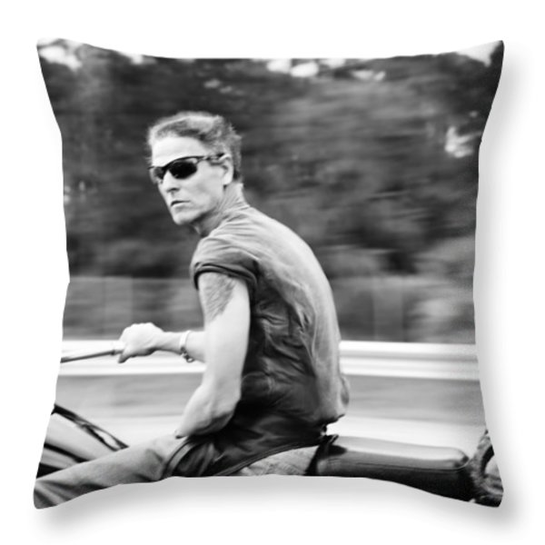 The Biker Throw Pillow by Laura  Fasulo