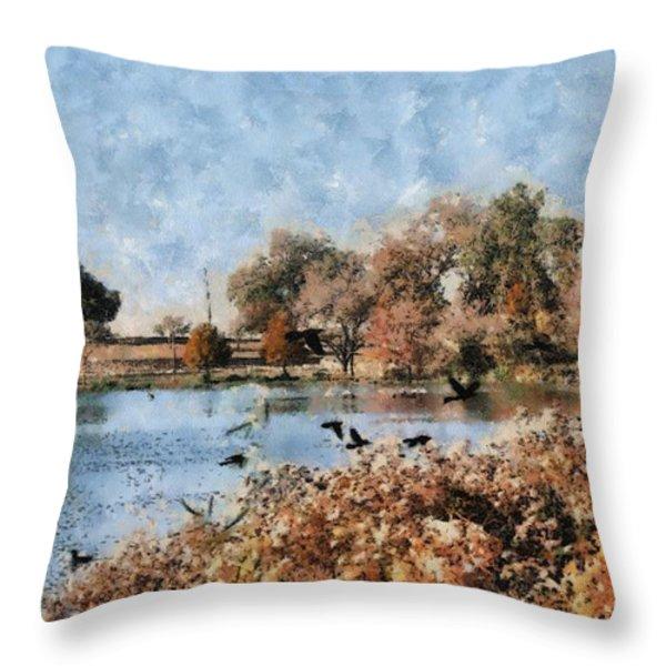 The Birds Of White Rock Lake Throw Pillow by Lorri Crossno