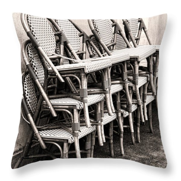 The Bistro Has Closed Throw Pillow by Olivier Le Queinec