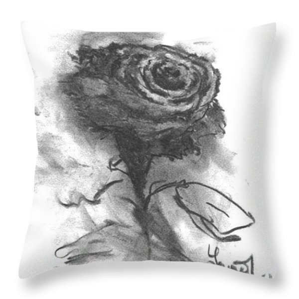 The Black Rose Throw Pillow by Laurie D Lundquist