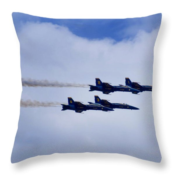 The Blue Angels Throw Pillow by Benjamin Reed
