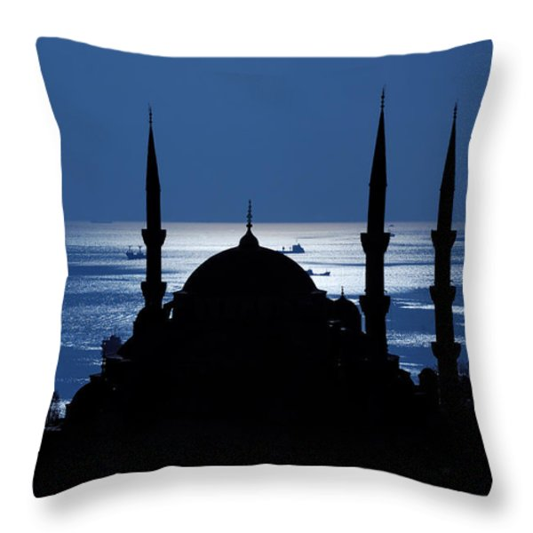 The Blue Mosque Throw Pillow by Ayhan Altun