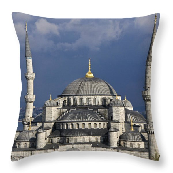The Blue Mosque in Istanbul Throw Pillow by Michele Burgess