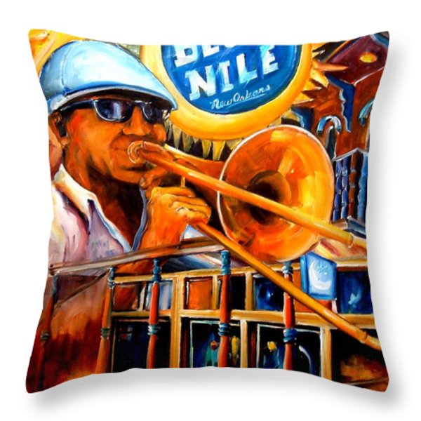 The Blue Nile Jazz Club Throw Pillow by Diane Millsap