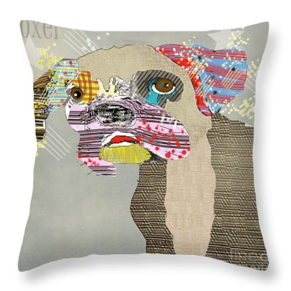 The Boxer Dog Throw Pillow by Bri Buckley