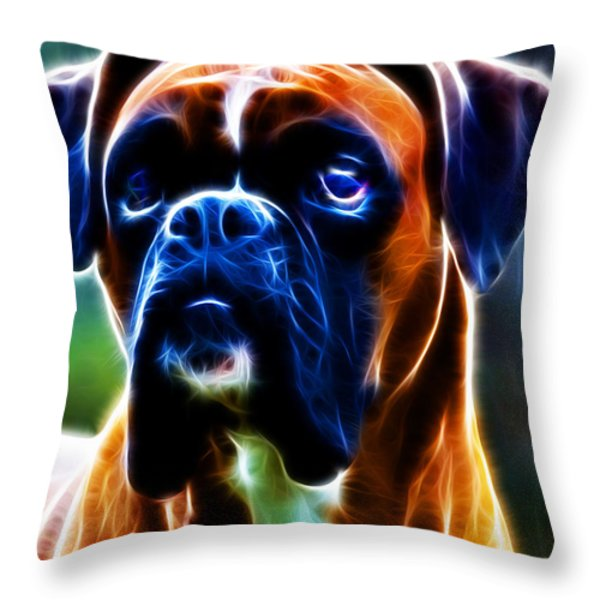 The Boxer - Electric Throw Pillow by Wingsdomain Art and Photography