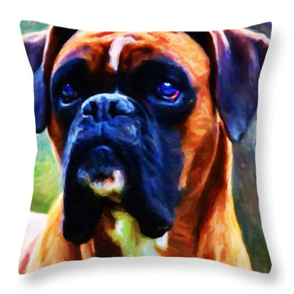 The Boxer - Painterly Throw Pillow by Wingsdomain Art and Photography