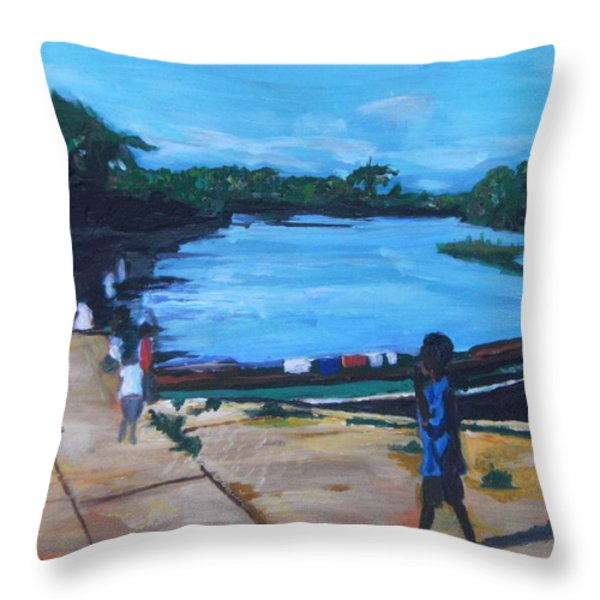 The Boy Porter  Sierra Leone Throw Pillow by Mudiama Kammoh