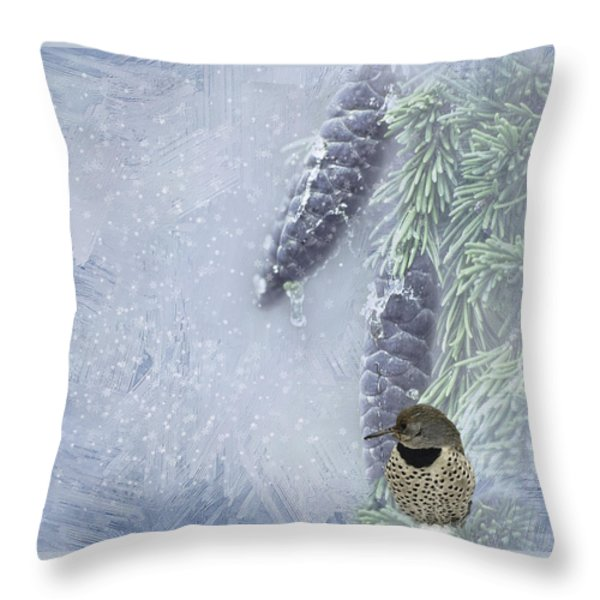The Breath Of Old Man Winter Throw Pillow by Diane Schuster