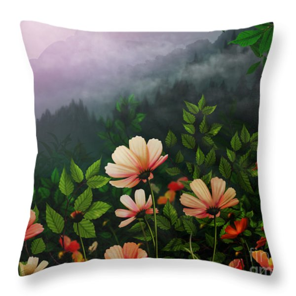 The Brighter Side Of The Dark Mountains Throw Pillow by Bedros Awak