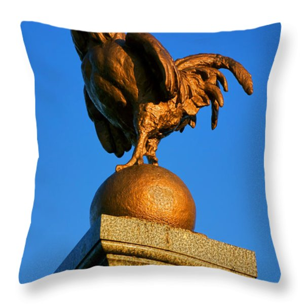 The Bronze Rooster Throw Pillow by Olivier Le Queinec