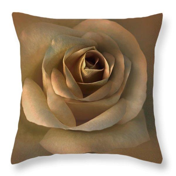 The Bronze Rose Flower Throw Pillow by Jennie Marie Schell
