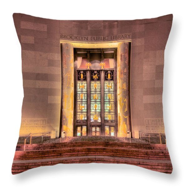 The Brooklyn Public Library Throw Pillow by JC Findley