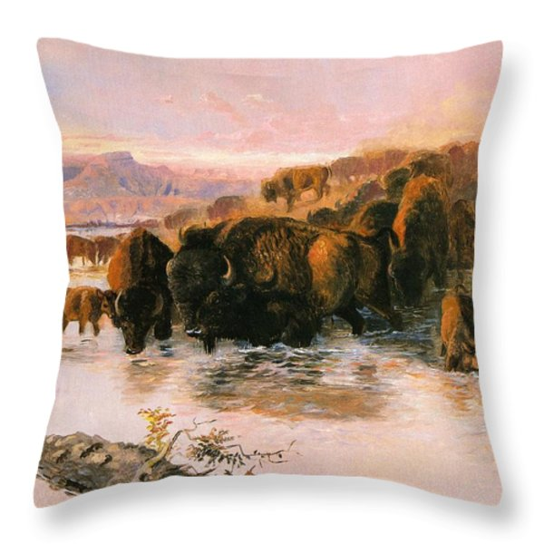 The Buffalo Herd Throw Pillow by Charles Russell
