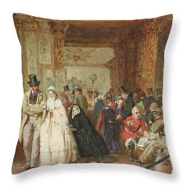 The Buffet Swindon Station Throw Pillow by George Elgar Hicks