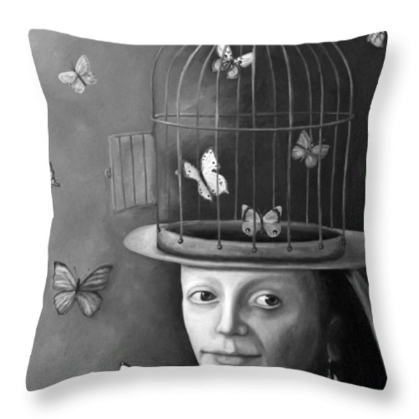 The Butterfly Keeper Bw Throw Pillow by Leah Saulnier The Painting Maniac