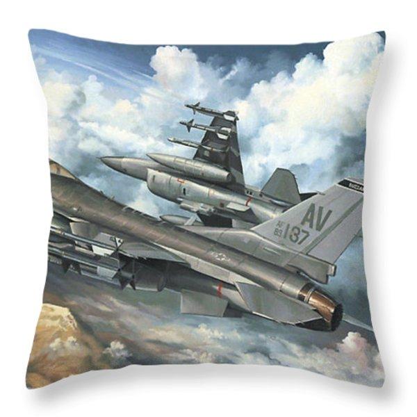 The Buzzard Boys From Aviano Throw Pillow by Randy Green