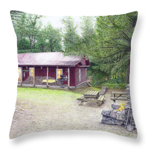 The Cabin In The Woods Throw Pillow by Albert Puskaric