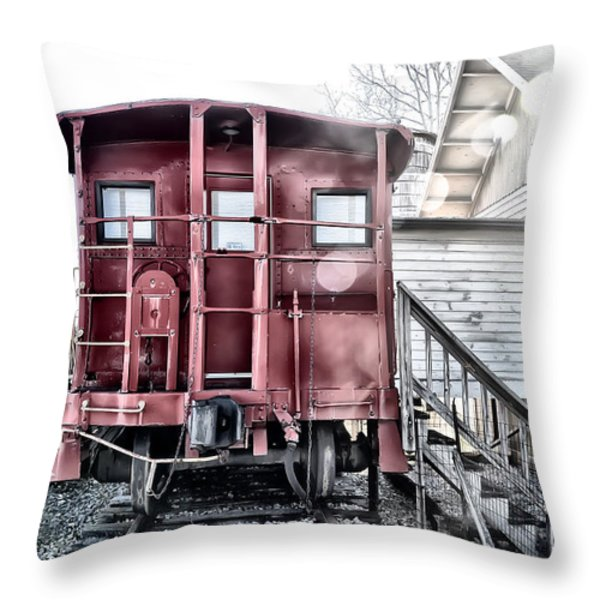 The Caboose Throw Pillow by Bill Cannon