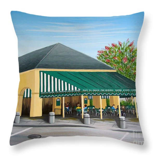 The Cafe Throw Pillow by Valerie Chiasson-Carpenter