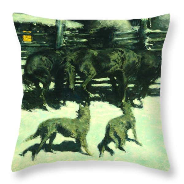 The Call For Help Throw Pillow by Fredrick Remington