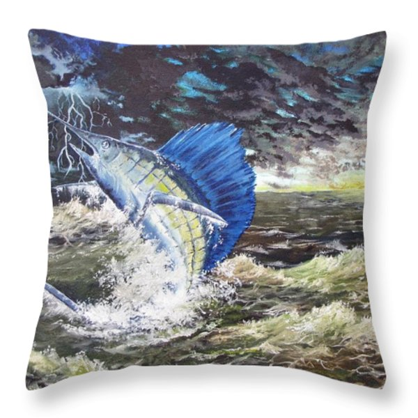 The Calm The Crazy The Sailfish Throw Pillow by Kevin F Heuman