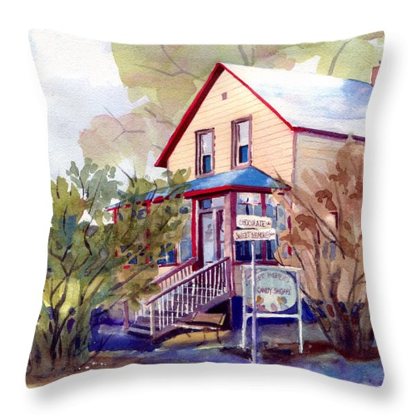 The Candy Shoppe Throw Pillow by Kris Parins