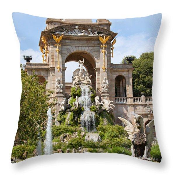 The Cascada in Parc de la Ciutadella in Barcelona Throw Pillow by Artur Bogacki