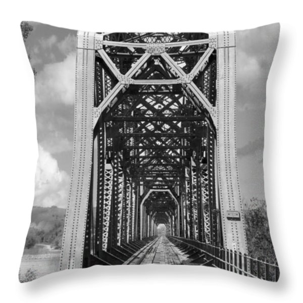 The Chicago And North Western Railroad Bridge Throw Pillow by Mike McGlothlen