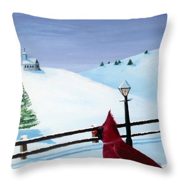 The Christmas Cardinal Throw Pillow by Spencer Hudon II