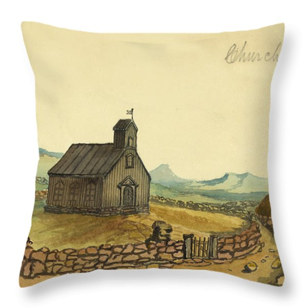The Church At Thingvalla Iceland Circa 1862 Throw Pillow by Aged Pixel