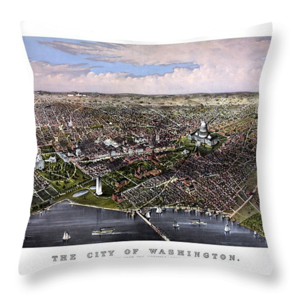 The City Of Washington Birds Eye View Throw Pillow by War Is Hell Store