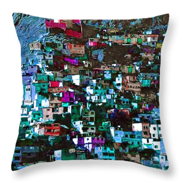 The City On The Hill V1p168 Square Throw Pillow by Wingsdomain Art and Photography