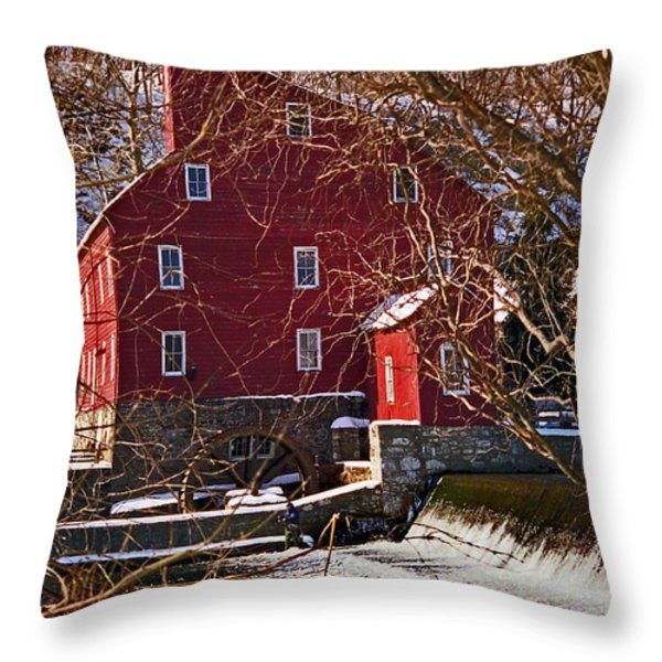 The Clinton Nj Mill Throw Pillow by Skip Willits