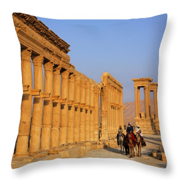 The Colonnaded Street Palmyra Syria Throw Pillow by Robert Preston