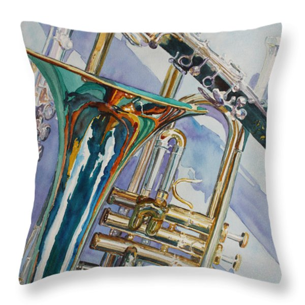 The Color Of Music Throw Pillow by Jenny Armitage
